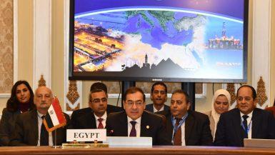 طارق الملا وزير البترول خلال منتدى غاز شرق المتوسط
