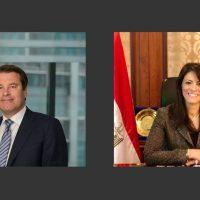 رانيا المشاط وزيرة التعاون الدولى و يورجان ريجترينك القائم بأعمال رئيس البنك الأوروبي لإعادة الإعمار والتنمية